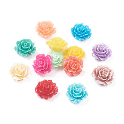 200pcs Resin Cabochon Flower Mix Color Jewelry Finding Flatback Craft 9mm DIY