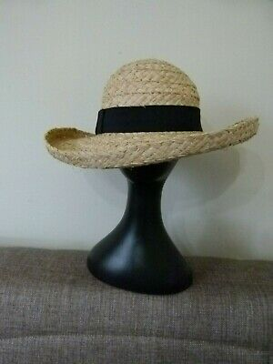 Nordstrom Rack Sun Panama Hat Braid Ribbon Trim Wet Straw One Size