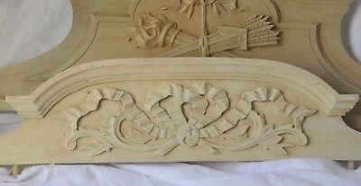 Antique French solid wooden pediment or fronton, carved bow, shabby chic paint
