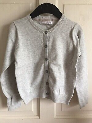 BNWOT Essential Next Cardigan. Girls. Age 5 - 10 Years. Grey - Glitter Trim