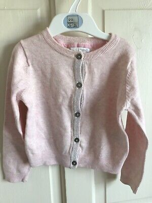 BNWOT Essential Next Cardigan. Girls. Age 3 - 12 Years. Pink - Glitter Trim