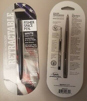 NEW Fisher Retractable Space Pen BLACK Finish Medium Black Ink bullet