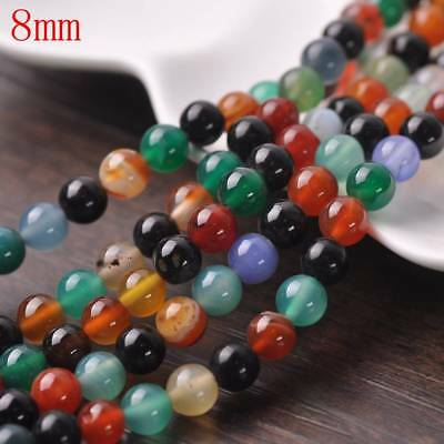 Wholesale 4/6/8/10mm Natural Stone Gemstone Mixed Agate Round Loose Spacer Beads