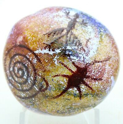 Spectacular RICK SATAVA Colorful Cave Wall PETROGLYPH Art Glass PAPERWEIGHT