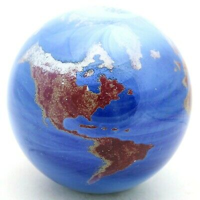 Fascinating JAMES LUNDBERG Studio World GLOBE Art Glass MARBLE Paperweight 3.8""