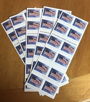 USPS US Flag 2019 Forever Stamps - 4 Sheets. Each Sheet has 20 Stamps