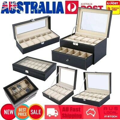 6/10/12/20/24 Grids Watch Display Case PU Leather Jewelry Storage Box Organizer