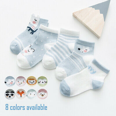 5 Pairs Baby Boy Girl Cartoon Cotton Socks NewBorn Infant Toddler Kids 17 styles