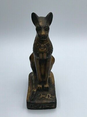 EGYPTIAN BASTED CAT UBASTI ANTIQUES Goddess EGYPT Statue SCARAB Carved STONE BC
