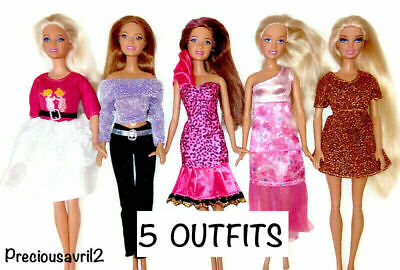 Brand new Barbie doll clothes 5 party sets outfits dress clothes clothing.