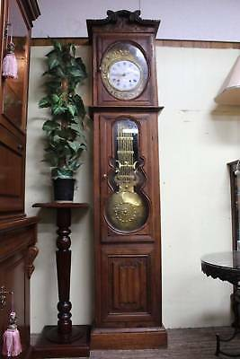 A Tall French Provincial Comtoise Grandfather Clock in Oak Case c.1850/60's