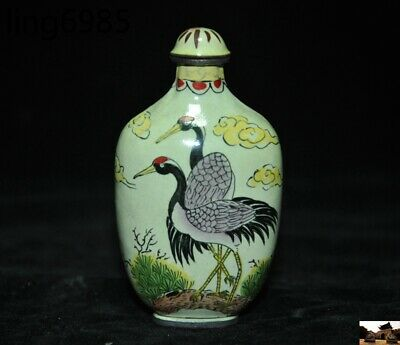 marked old chinese pure copper Cloisonne Crane bird Bamboo pattern Snuff bottle