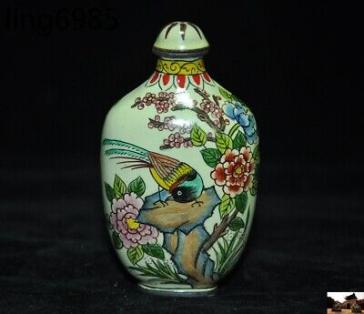 marked old chinese pure copper Cloisonne Magpie Bird Peony Pattern Snuff bottle