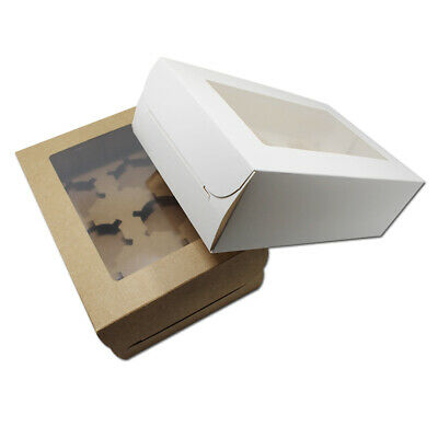 24x15.5x7.5cm Kraft Paper 6 Hole Cupcake Gifts Packaging Boxes With Clear Window