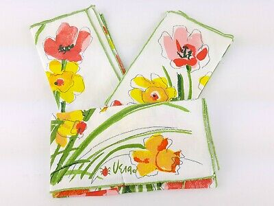 Lot of 3 Vera Neumann Cloth Napkins Floral Flowers Yellow Pink Daffodil Poppy