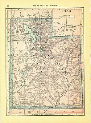 1914 Security Handy Atlas Vintage Map Pages - Utah on one side and Idaho on t...