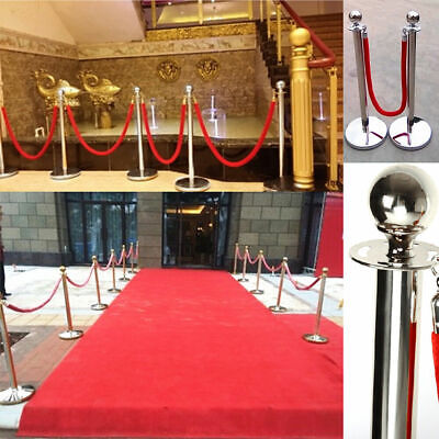 Sliver Queue Barrier Posts Stands Security Stanchion Rope Divider Steel Set