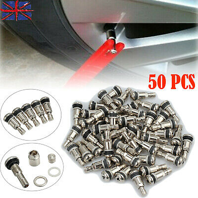 50X Bolt In Chrome Metal Steel Car Wheel Tyre Valves Fit Alloys Dust Caps Silver