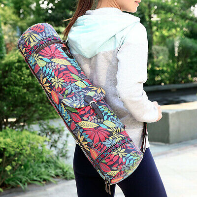 Travel Portable Yoga Mat Carry Bag Zipper Adjustable Strap Canvas Carrier New