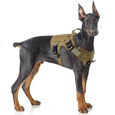 Tactical Dog Harness No-Pull,Military Dog Vest with MOLLE&Loop Panels for Hiking