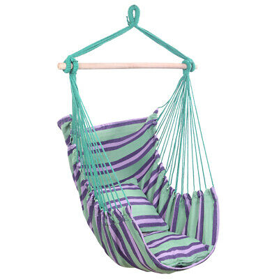 Portable Hanging Rope Hammock Chair Garden Patio Camping Porch Swing Seat Green