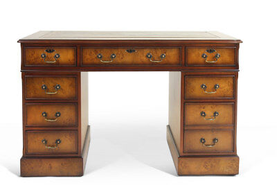Luxury Burr Walnut Poplar Bespoke Home Office Pedestal Desk