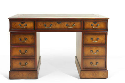 Luxury Burr Walnut Poplar Bespoke Home Office Pedestal Desk !