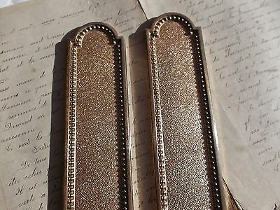 French antique patina gold bronze door push plates finger a pair solid
