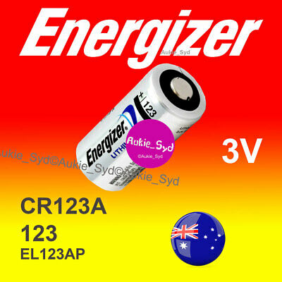 2x Energizer 123/CR123A  Lithium 3V Battery Camera Photo Flashlight Batteries