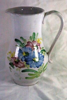 """Arabia Pottery Blue Pink And Yellow Floral Pitcher 7 3/4"""""""