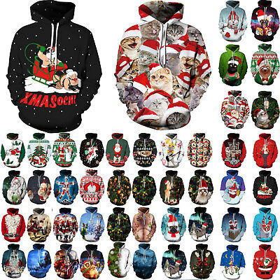 Mens Womens Snowman 3D Graphic Print Christmas Xmas Hoodie Jumper Coat Pullover