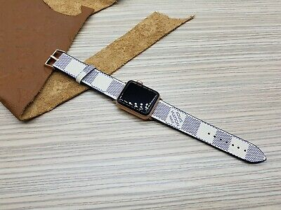 Handmade Louis Vuitton Apple watch band Series 1, 2, 3, 4, White iwatch strap