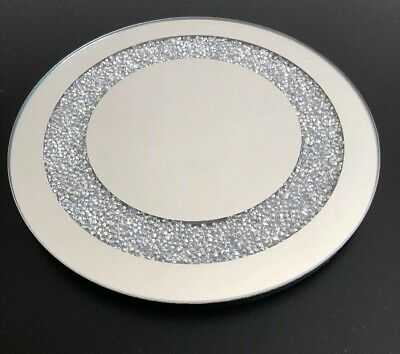 Round Mirrored Gold Glitter Glass Candle Plate 20cm Dia