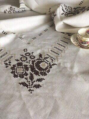 Vintage Handmade White Linen Tablecloth With Brown Floral Cross Stitch Banquet