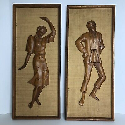 2 Vintage Mid Century Carved Wood Wall Art Hanging Man Woman Dancing BOHO Tiki