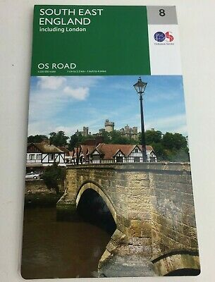 Ordnance Survey Sheet OS Road Map 8 - South East England SE Including London NEW