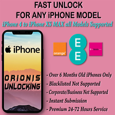 iPhone XS MAX XR X 8 8+ 7 7+ 6 6+ 6S 6s+ 5S 5 5C PLUS EE UNLOCK CODE SERVICE UK
