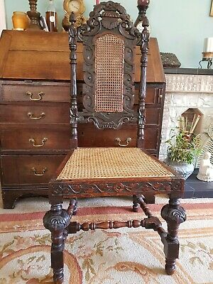 Antique Jacobean Style Oak Carved Side Chair Bergere Seat And Back Coromandel...