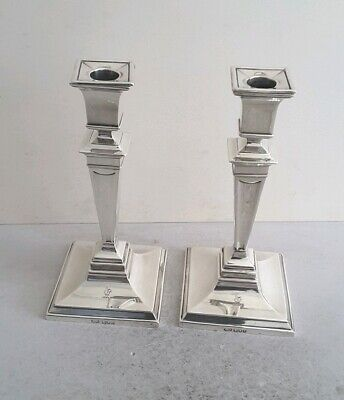 Quality Pr. Crested Antique Solid Silver Candlesticks    Ht.22.7Cms.   Lon.1913.