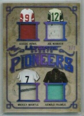 2019 Leaf Ultimate Sports Mickey Mantle Howe Namath Palmer Quad Relic #'ed 7/7