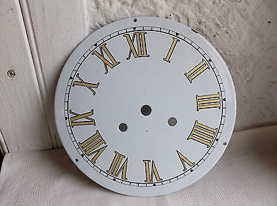 French porcelain enamel clock dial face part gorgeous vintage dia 9''