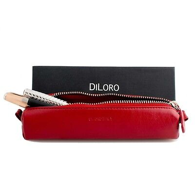 Zippered Leather Multi Pen Pencil Vape Case Holder Pouch in Red by DiLoro Italy