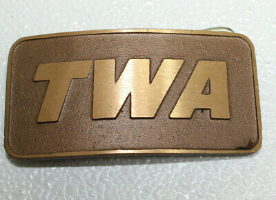 VINTAGE 1970s TWA AIRLINE COMPANY SOLID BRASS BELT BUCKLE