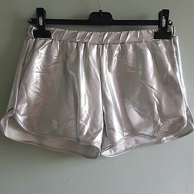 Ladies BENETTON Vtg Silver Shorts Sz 8/10 Cyber Festival Punk Shiny Hotpants