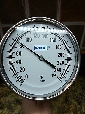 """Wika 5"""" Bi-Metal Thermometer 0/250F Stainless Steel  New"""