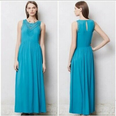 Mermaid Size Small Macrame Day Knit Maxi Dress Anthropologie Solid Blue