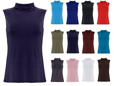 New Womens Sleeveless Turtle Neck Top Ladies Roll Neck Polo Neck Jumper 8-22