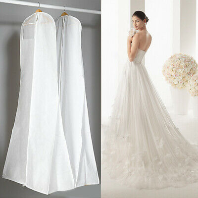 White Extra Large Wedding Breathable Dress  Garment Gown Storage Bag Cover T8A1R
