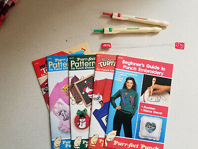 Lot Purr-fect Punch Needles Threaders Instruction Book + Four Pattern Booklets