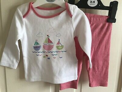 BNWOT M&S 2 Piece Set Outfit. Top/ Leggings. Girls. Age 0 - 3 Month. Pink/ White